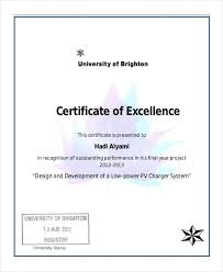 Performance Certificate Sample Excellence Certificate Template 24 Word Pdf Psd Format