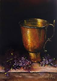 lilacs and copper cup still life original oil painting nina r aide fl small painting canvas fine art gallery flowers by ninaraidestudio on