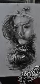 эскиз тату хорор змея девушка тату Tattoo Kavalerart эскиз