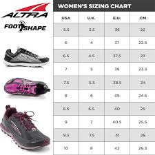 Sport Shoe Size Chart Altra Womens Superior 3 5 Running Shoes