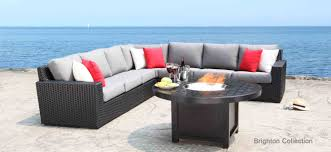 outdoor furniture. brighton patio furniture outdoor wicker sectional with hampton fire pit