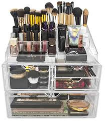 sorbus makeup case acrylic cosmetic jewelry storage display set x large clear by sorbus