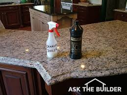 sealer bottles on granite countertop