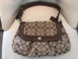 Coach F13739 Soho Pleated Signature Large Flap Hobo Shoulder Brown Bag