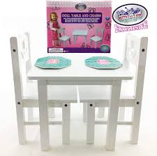 official summer mattys toy stop 18 inch doll furniture white wooden table and chairs set with