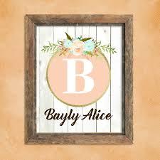 Baby Monogram Wall Decor Nursery Art Etsy