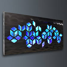 impulse large 46x22 abstract geometric design metal wall art with led infused color changing lighting remote control best lighting for art studio
