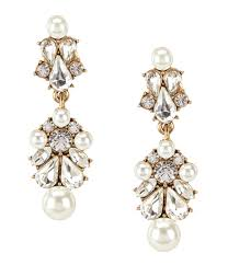 belle badgley mischka sweetheart faux pearl faux crystal chandelier statement earrings