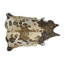 gold and brown metallic cowhide rug