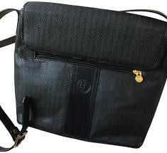 Designer Canvas Crossbody Bag Fendi Vintage Designer Canvas Leather Black Pinstripe Printed Coated Canvas Leather Cross Body Bag
