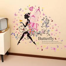 flowers fairy wall sticker beautiful wing moon erfly girls stickers romantic