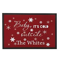christmas door mats outdoor. Funny Christmas Doormats Custom Faimly Name Door Mats Red Snowflakes With Sayings Baby It\u0027s Cold Outside Outdoor O