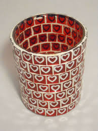 yankee candle glass heart mirror mosaic holder
