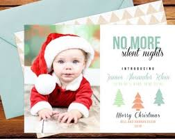 Silent Nights Are Overrated Holiday Photo Card Birth Etsy