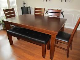 hit simple untreated mahogany dining table with bench seats room new furniture benches white formal trestle marble walnut and chairs modern wood casual set