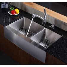 kraus khf203 36 36 inch farmhouse a 70 30 double bowl 16 gauge stainless steel kitchen sink