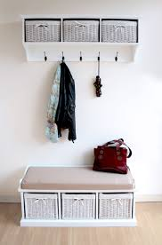 Decorations:Nice Looking Hall Bench With White Wicker Basket Combined Wall  Mounted Wooden Coat Rack