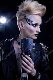 Módní Rocker Styl Modelu Dívka Portrét účes Punková žena Make Up