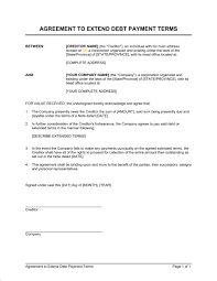 Sample Agreement To Pay Debt Agreement To Extend Debt Payment Terms Template Word Pdf