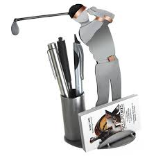 our golfer business card holder makes excellent desktop art for your golfing buddy