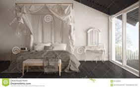 Himmelbett Im Minimalistic Weißen Und Grauen Schlafzimmer Mit Großem