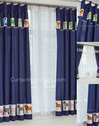 Short Window Curtains For Bedroom Short Window Curtains Adorable Dark Blue Animal Patterns Bedroom