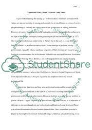 Short Term Professional Goals Professional Goals Short Term And Long Term Essay