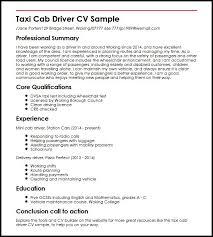 Gallery Of Taxi Cab Driver Cv Sample Myperfectcv Driving Skills