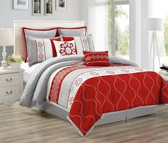 landon red gray off white fl embroidery medallion quilted bedding comforter set comforter sets