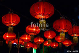 red chinese paper lanterns against