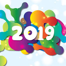 Vector Happy New Year 2019 With Colorful Shape Composition, Letters ...