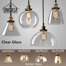 amber clear glass shade pendant lights industrial lighting fixtures kitchen home modern led light vintage