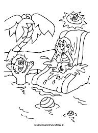 Kleurplaat Glijbaan Zwembad Palmboom Vakantie