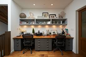 Basement Office Design Delectable Home Office Two Office Spaces Desk Made Of Filing Cabinets And