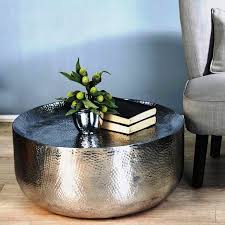 table round hammered metal coffee table farmhouse large round
