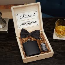 secret agent personalized cigar box wooden crate groomsmen gift set to enlarge