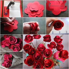 How To Make A Beautiful Flower With Paper Beautiful Diy Red Paper Roses