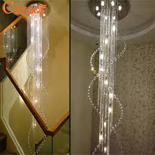 modern large size crystal chandelier spiral long stair lighting fixture for foyer hotel villa