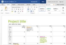 Online Planning Calendar Project Planning Timeline Calendar For Word Online