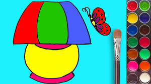 How To Draw A Bed Lamp With Coloring Pages And Water Colors For Children Kids Learning Drawing