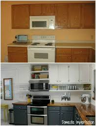 budget kitchen remodel from domestic imperfection love the shelves under the cabinets