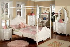 CM7519 Twin Size Canopy Bed / Victoria / Pearl White Finish - Youth ...