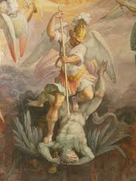 angel killing demon fresco in the chapel of pius v vatican 16th