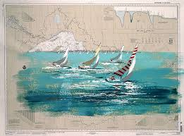 Paintings On Nautical Charts Saper Galleries Is The Primary Source For Kerry Hallam