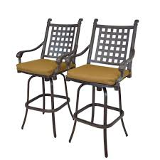 oakland living cast aluminum motion patio bar stool with sunbrella cushions 2 pack