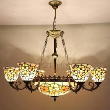 tiffany style lighting stained glass shade 9 light fixture 3