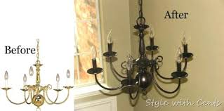 oil rubbed bronze spray paint chandelier before after painting a brass diy re using old discarded painting a brass chandelier makeover paint polished