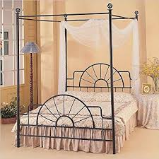 Queen Complete Black Wrought Iron Canopy Bed