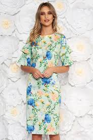 Light Blue 3 4 Sleeve Dress Lightgreen Daily Dress With Tented Cut 3 4 Sleeve Airy Fabric With Floral Print Accessorized With Chain