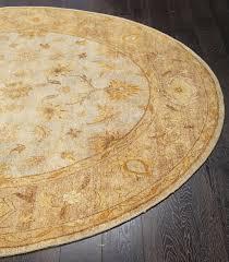rugsville ziegler handmade vegetable dyes ivory gold round rug 240x240 cm